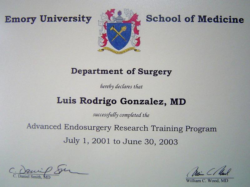 Especialidad en Cirugía Laparoscópica, Emory University School of Medicine, Atlanta, Estados Unidos