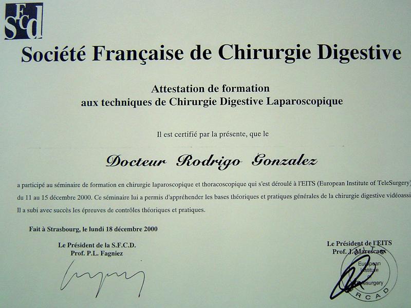 Miembro de la Sociedad Francesa de Cirugía Digestiva (Societe Francaise de Chirurgie Digestive)